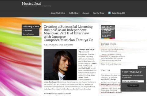 Music2Deal - Tatsuya Oe interview