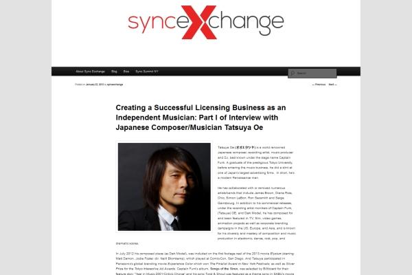 Sync Exchange - Tatsuya Oe Interview