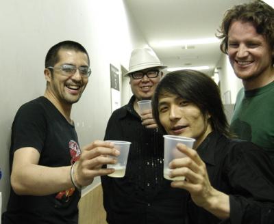 Atsushi Yanaka, Tomoyuki Tanaka & Tatsuya Oe at Captain Funk release party