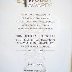 Webby Awards Tatsuya Oe - Best Use of Animation