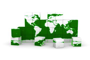 World Made of Blocks Green